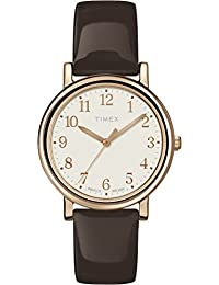 Timex Women's Originals T2P465AW White Dial and Brown Patent Leather Strap Watch