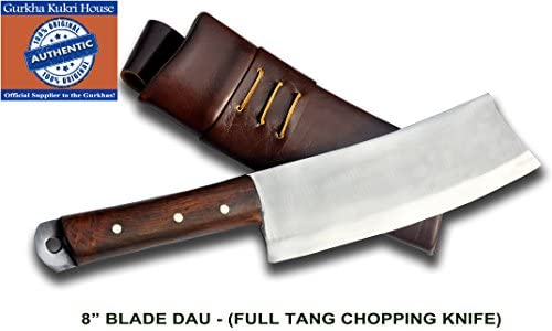 Authentic Gurkha Kukri Knife – 8 Blade Dau – the Chopping Knife with Dark Brown Leather Sheath-Handmade by Gurkha Kukri House in Nepal- Warehoused Ship from USA