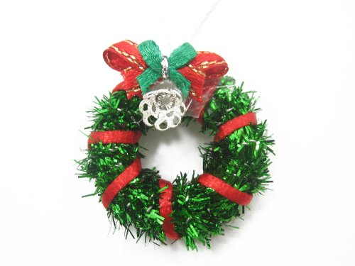 (Dolls House Miniature Christmas Decoration Green Wreath Holly Ornament Supply Deco Charms - 7210)