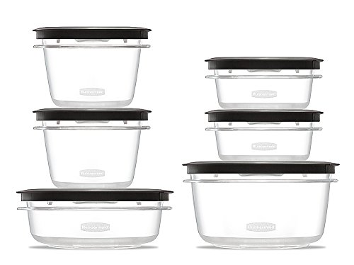 Rubbermaid Rubbermaid Premier Food Storage Containers, 12-Piece Set, Grey,, Grey