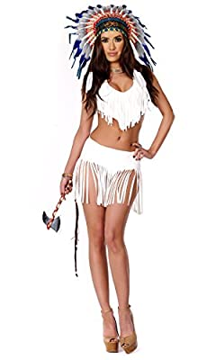 Forplay Women's Indian Summer Fringe Top and Skirt Panty and Tomahawk