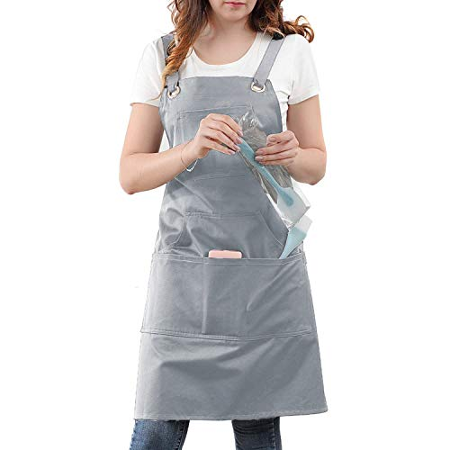 Professional Kitchen Apron for Chef, Artist, Grill, BBQ, Shop, Baking for Women and Men with Cross Back + Fasten/Quick Release Buckle + 6 Pockets + 2 Towel Loops, Adjustable M to XXL, 100% Cotton (Kitchen Apron)