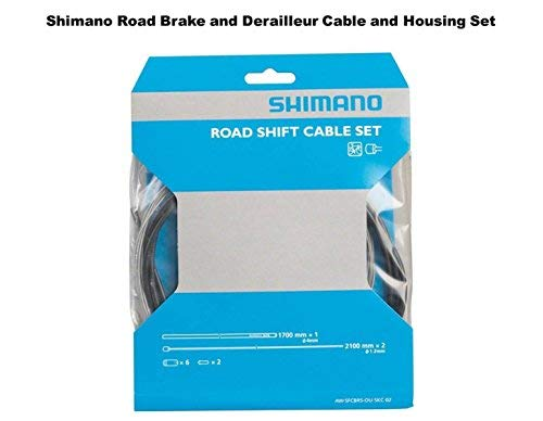 SHIMANO Road Brake and Shifter Cable Set Housing Included, Black, Road Bike Kit