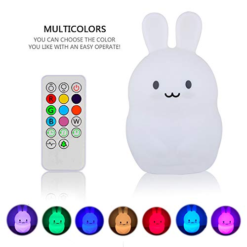 Night Light for Kids, YHTechnology Soft Silicone Bunny Baby Nursery Lamp with Sensitive Tap and Remote Control, LED Besides Lamp with Multicolor Best Gift for Children's Day