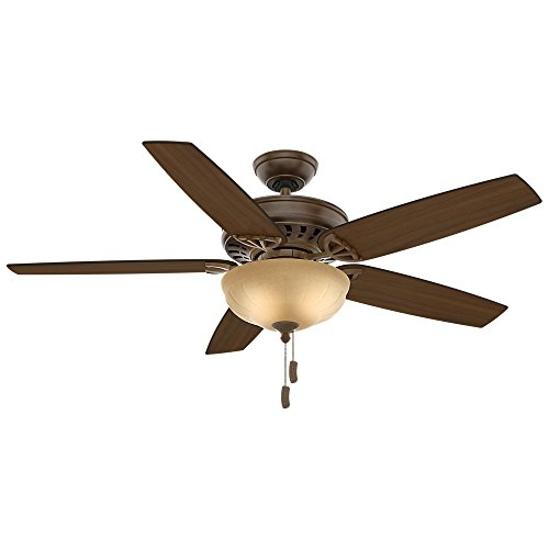 Casablanca 54024 Concentra Gallery 54-Inch 5-Blade Single Light Ceiling Fan, Acadia with Clove/Smoked Walnut Blades and Tea Stain Glass Bowl Light - Light Walnut Five Bowl