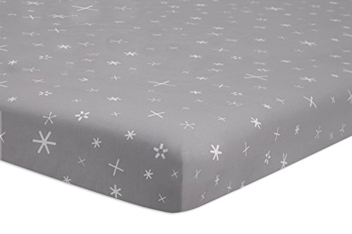 i Crib Sheet, Galaxy Galactic Grey Stars (Da Vinci Mini Crib Bedding)
