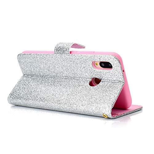 Premium Rabat Portefeuille avec Bling PU Lite Antichoc Case Housse Clapet Huawei et Fonction P20 Languette Lite Coque pour à Glitter Huawei Magnétique Emplacements Cuir Luxe P20 Support Argent Cartes en TOzIwq7x