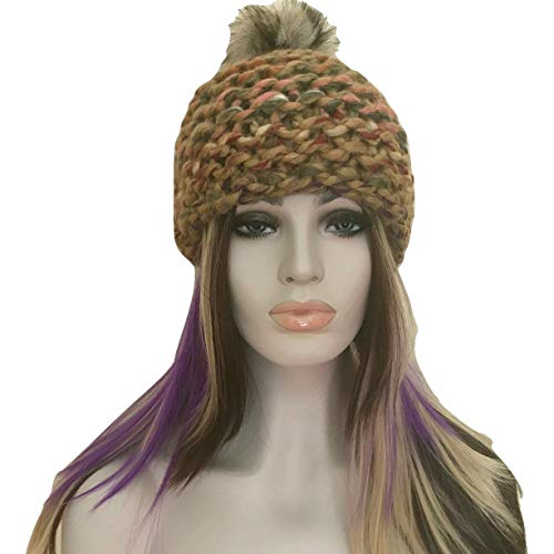 Wool Cap Hat Hand Knit Beanie with Pompom