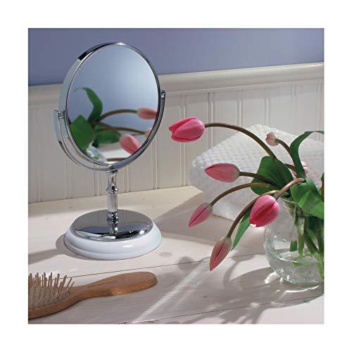 InterDesign York Free Standing Vanity Makeup Mirror for Bathroom Countertops - White/Chrome