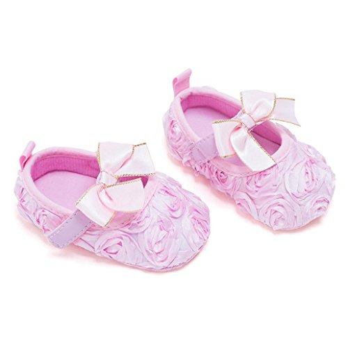 Hunpta Neugeborenes Baby weiche Unterseite rutschfeste Schuhe Mädchen Krippe Jane große Blume Schuhe Rosa