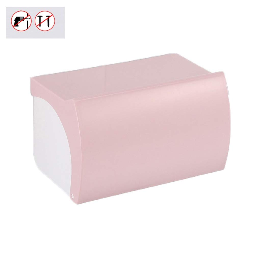 Lamp love Carton Hygiene Tissue Box Free Punching Plastic Roll Tray Flip Toilet Paper Box Waterproof Toilet Paper Holder (Color : Pink)