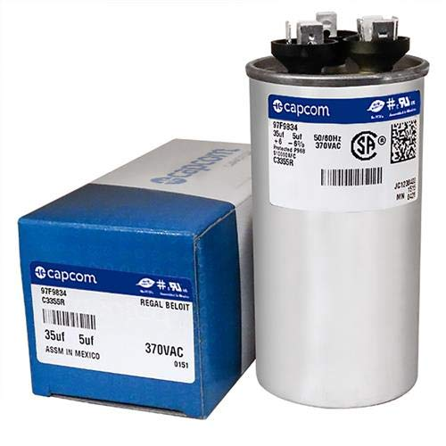 Genteq C3355R Capacitor Dual Run Round 35/5 UF MFD 370V VAC 97F9834 (Replace Old GE# Z97F9834) 35 and 5 MFD at 370V
