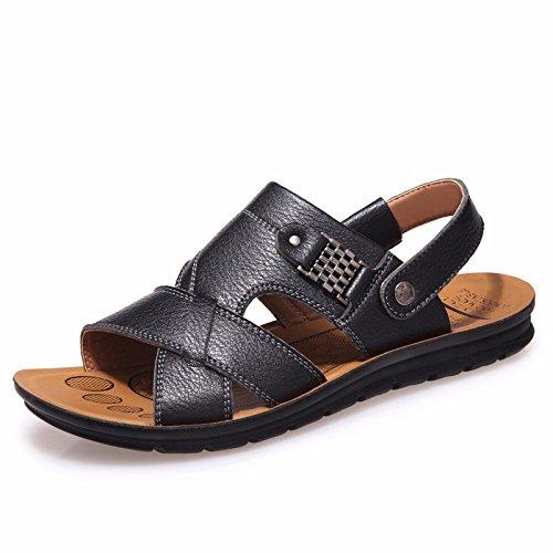 Verão Homens Novos Produtos Sandálias De Couro Verdadeiro Praia Sapato Respirável Lazer Couro, Preto, Nós = 8,5, Uk = 8, Eu = 42 Cn = 43