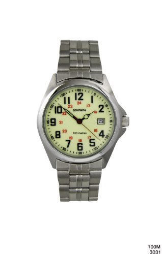 Sekonda Men's Quartz Watch with Green Dial Analogue Display and Silver Stainless Steel Bracelet 3031.27
