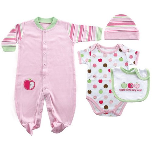 Hudson Baby 4-Piece Girl Layette Set
