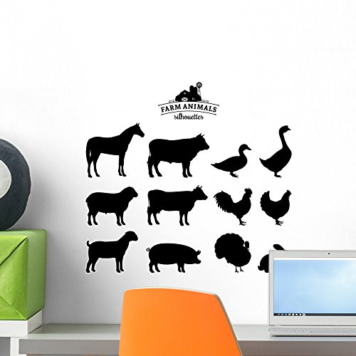 (Wallmonkeys Vector Farm Animals Silhouettes Wall Decal Sticker Set Individual Peel and Stick Graphics on a (18 in W x 17 in H) Sticker Sheet WM367960)
