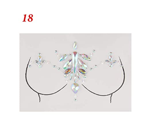 DRTHUKG Etiqueta Engomada del Tatuaje Glitter Jewels Chest Tattoo ...