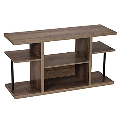 Household Essentials 8072-1 Ashwood Media Center | Entertainment TV Stand |6 Shelves for Storage - VERSATILE SIX SHELF television stand with distressed wood grain finish and black metal post accents 6 SHELVES for storing and organizing dvd's, books, stereos, and much more MINIMALIST DESIGN with clean lines and small footprint - tv-stands, living-room-furniture, living-room - 41cLfwacn%2BL. SS400  -
