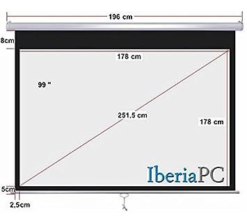 Pantalla proyector manual 100 (1.80m x 1.80m): Amazon.es: Electrónica