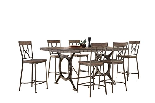 Hillsdale 5987CTBS7 7 Piece Counter Height Dining Set, Brown/Gray