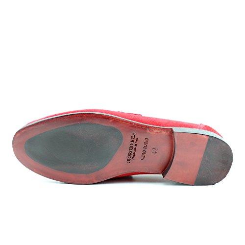 Giorgio Rea Zapatos Para Hombre Rojo Elegante Hombre Zapatos Hecho A Mano EN Italia Cuero Real Brogue Oxfords Richelieu Mocasines Rojo