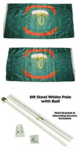 (ALBATROS 3 ft x 5 ft 1st Irish Brigade Ireland 2ply Flag White with Pole Kit Gold Ball Top for Home and Parades, Official Party, All Weather Indoors Outdoors)