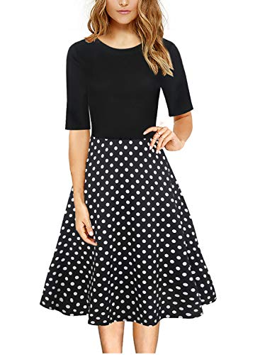 - Polka Dot Classic Flattering A-Line Skater Dress for Women's Casual Work Party Foral Printed Flowy Ladies Special Occasion Dress 162 (XL, Black+Dot)