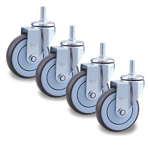 YFGYF Castors Wheels, M12 Stem Rubber Castors X4, 360° Swivel with Brake Furniture Casters, Trolley/Industrial/Medical Replacement Wheel, 2.5/3/4/5in
