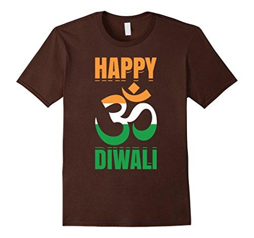 Mens Happy Diwali Om India Flag Hindu Festival Of Lights T-Shirt Medium Brown by Diwali Hindu Vibes Tees