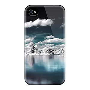 Premium TBwXrUp3298XBgUH Case With Scratch-resistant/ Superb Winter Lake View Case Cover For Iphone 4/4s