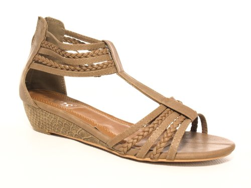Damen Keilabsatz Sandalen Sandalette Khaki # 6274