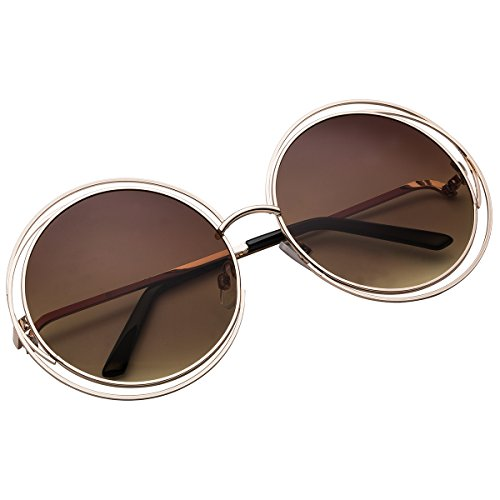 Sunglasses Oversized Round Wire Metal Gold Vivienfang 86613a Circle ...