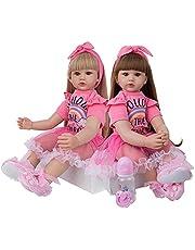 24 Inch Reborn Baby Dolls 60cm Cloth Body Princess Girl Lifelike Reborn Toddler Long Hair for Kid Birthday Xmas Gift,Twins