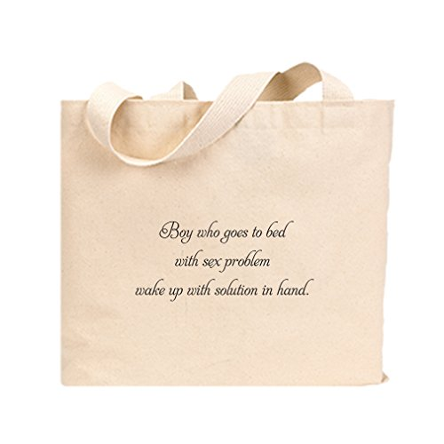 Canvas Jumbo Tote Sleeps W/ Sex Problem Wakes W/ Solution In Hand Style In Print by Style in Print