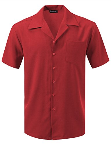 (7 Encounter Men's Camp Dress Shirt Rose Size XL)