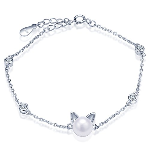 Pearl Simulated Charm (Infinite U Women's Lovely Cat Kitty 925 Sterling Silver Simulated Pearl Charm Adjustable Bracelet)