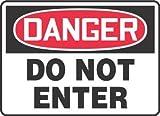 10''Hx14''W Black/Red/White Aluminum DANGER DO NOT ENTER Admittance & Exit Sign