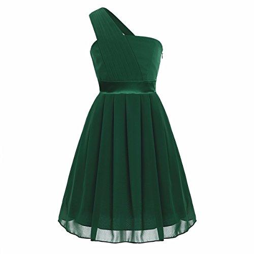 (iiniim Big Girls One Shoulder Chiffon Pleated Wedding Bridesmaid Pageant Party Flower Girl Dress Army Green)