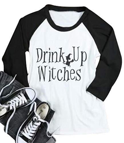 JINTING Funny Easy Halloween Costume Tshirt Tee Women Letter Prints Raglan Graphic 3/4 Sleeve Baseball Tee Shirt Size M (White)