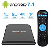 Android 7.1 TV Box,NEXSMART 4K TV Box Amlogic S905W Quad-Core, 1GB RAM & 8GB ROM,Support 4K Ultra HD 2.4GHz WiFi 100M Ethernet HDMI 2.0 Smart Media Player