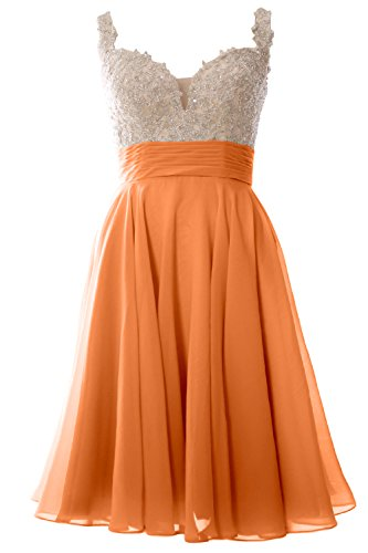 MACloth Women Straps Short Prom Dress Lace Chiffon Wedding Party Formal Gown Coral
