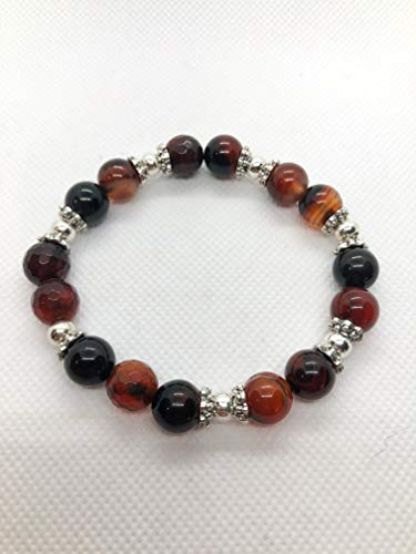 Cracked Agate Bracelet - Carnelian Mahogany Red Faceted Agate Beads with Silver Accent Bead Caps - Sm/Med 7.5