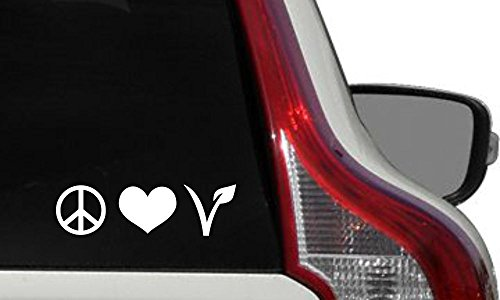 Vegan Peace Love Logo Version 2 Car Vinyl Sticker Decal Bumper Sticker for Auto Cars Trucks Windshield Custom Walls Windows Ipad Macbook Laptop Home and More (White) (For Cars Stickers Vegan)
