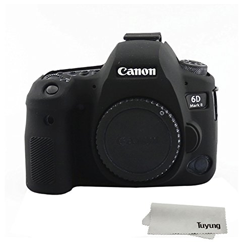 TUYUNG Silicone Camera Case Bag Protective Cover Skin for Canon EOS 6D Mark II Digital Camera - Black