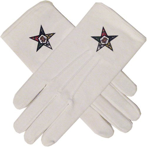 Masonic Order of the Eastern Star White Hand Embroidered Gloves