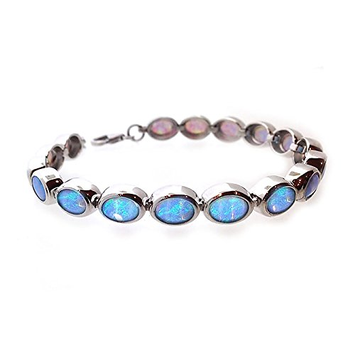 (Paul Wright Created Opal Bracelet in 925 Sterling Silver, 17 Oval Opal Links, with Vibrant Blue Color, 7