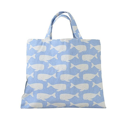 Caixia Women's Cotton Cartoon Whale Print Canvas Tote Shopping Bag (Light Blue/No closure/Square tote 14x11in)