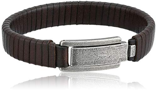 Leather Cuff Fossil - Fossil Men's Wrapped Brown Leather Bracelet