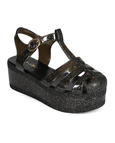 Nature Breeze BD46 Women Jelly Glitter Flatform Gladiator Sandal - Black Clear (Size: 7.5) (Flatform Jelly Sandals compare prices)