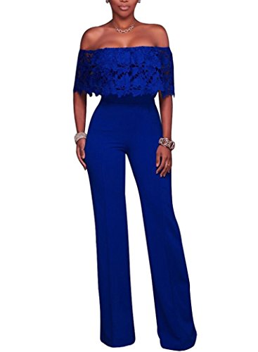 Halfword Womens Off Shoulder Long Pants Wide Leg High Waist Jumpsuits Rompers L Blue -